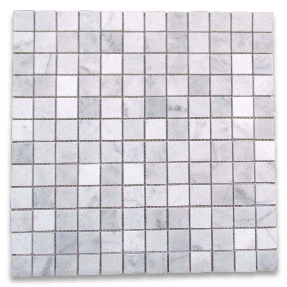Carrara White 1 Square Mosaic Tile
