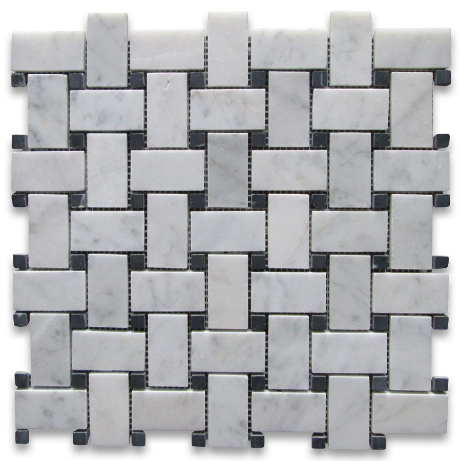 Basketweave Mosaic Tile With Black Dots
