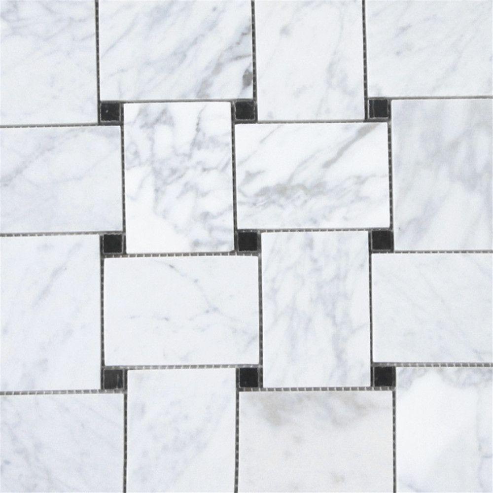 Carrara White Large Basketweave Mosaic Tile With Black Dots